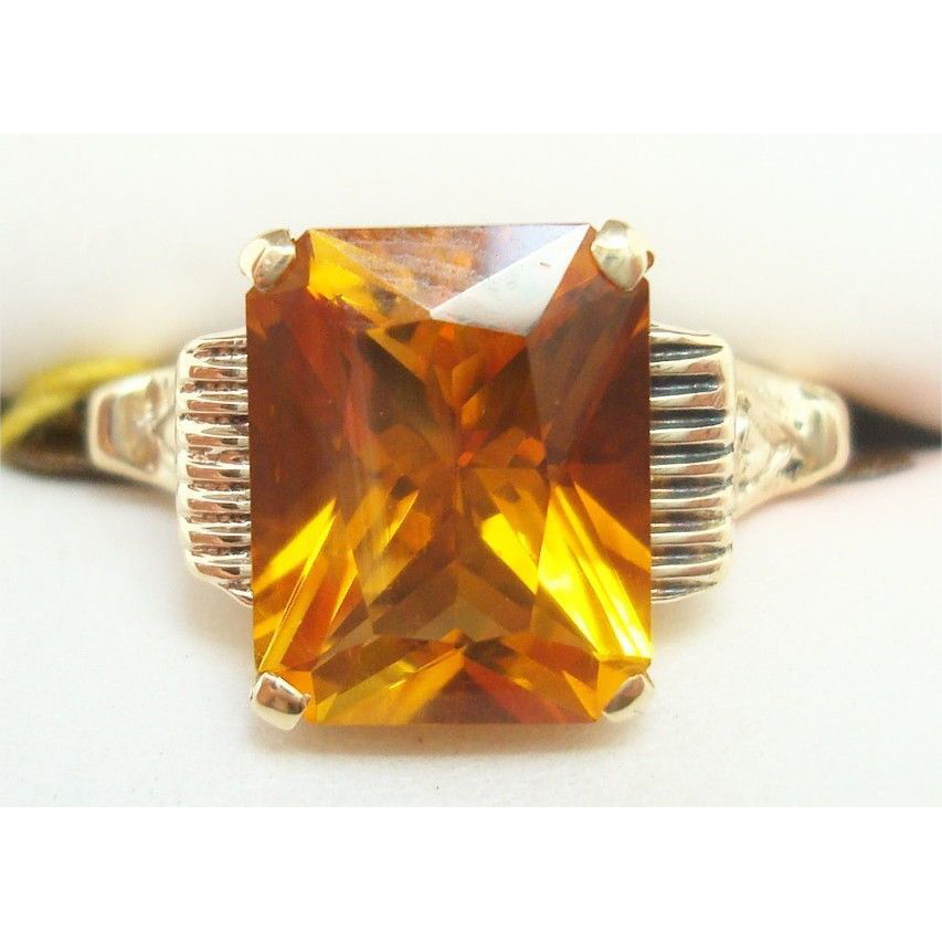 10 Karat Gold Radiant Cut 2.77 Carat Genuine Natural Citrine Ring