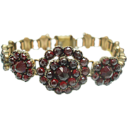 Genuine Natural Bohemian Garnet Bracelet with Floral Mountings