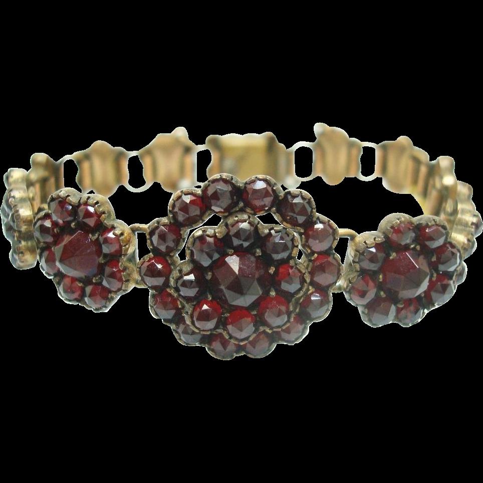 Genuine Natural Bohemian Garnet Bracelet with Floral Mountings