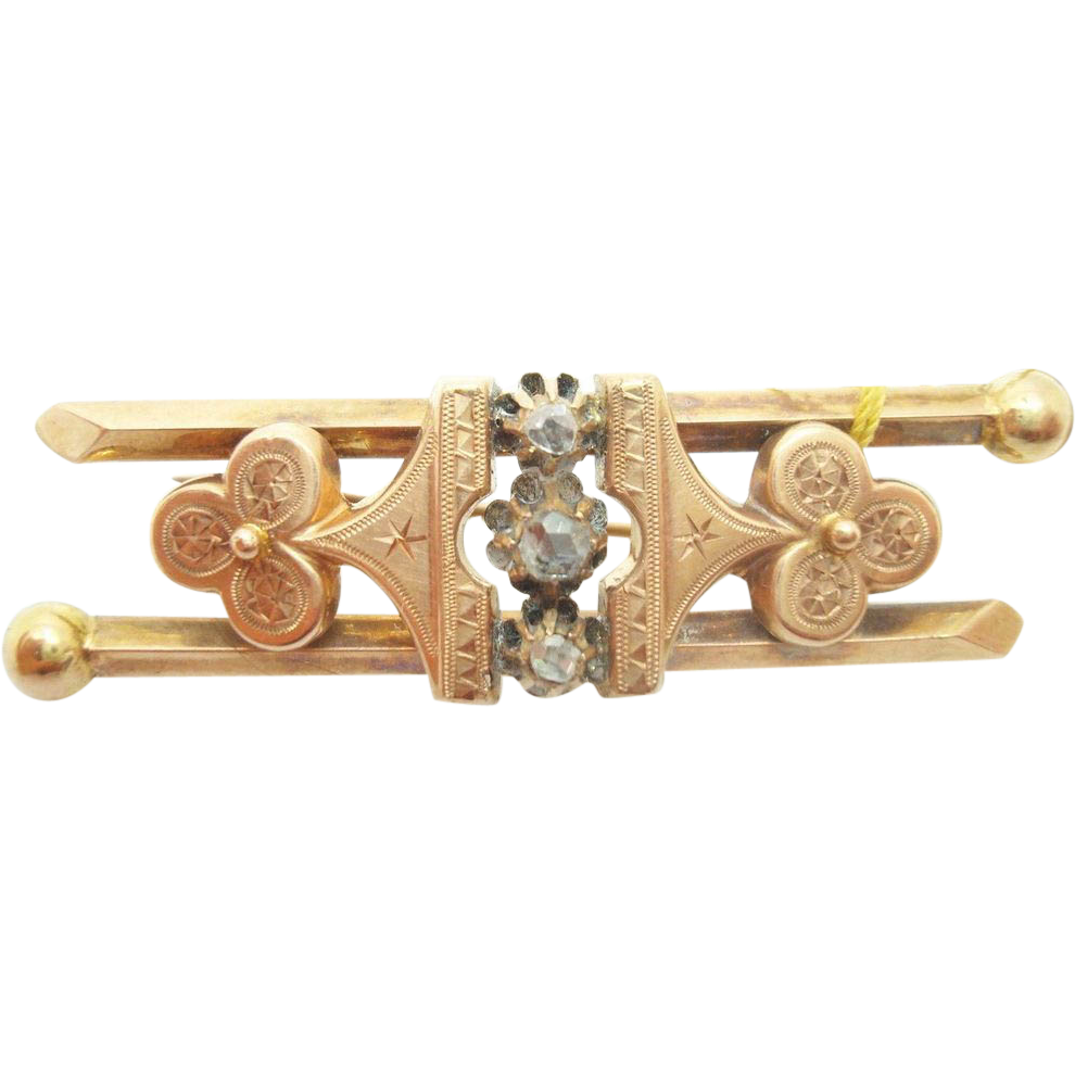 10 Karat Victorian Rose Gold Brooch with Rose Cut Genuine Natural Diamonds