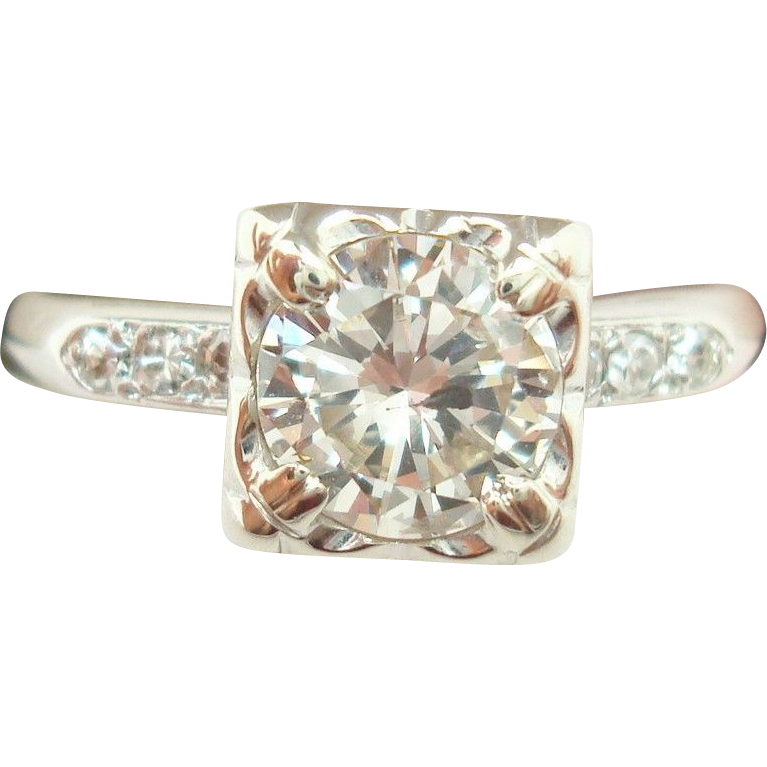 900 Platinum 1.10 Carat Brilliant Cut Genuine Natural Diamond Ring