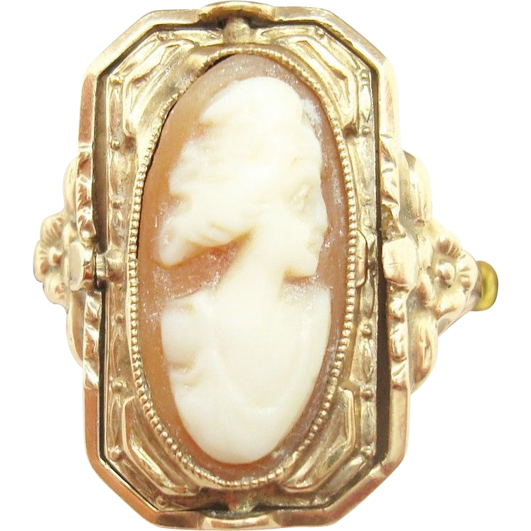 10 Karat Gold Flip Ring with Genuine Natural Shell Cameo and Black Onyx