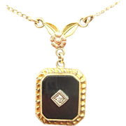 10 Karat Gold Square Cut Genuine Natural Onyx Pendant with Diamond and Rose on Bail
