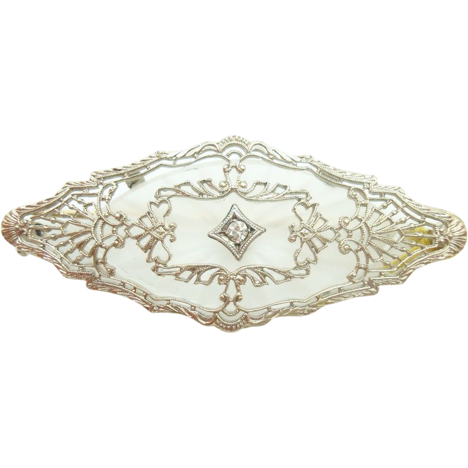14 Karat Gold Art Deco Filigree Marquise Genuine Natural Camphor Brooch