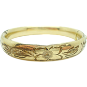 Gold Filled Bangle Bracelet with Floral Design