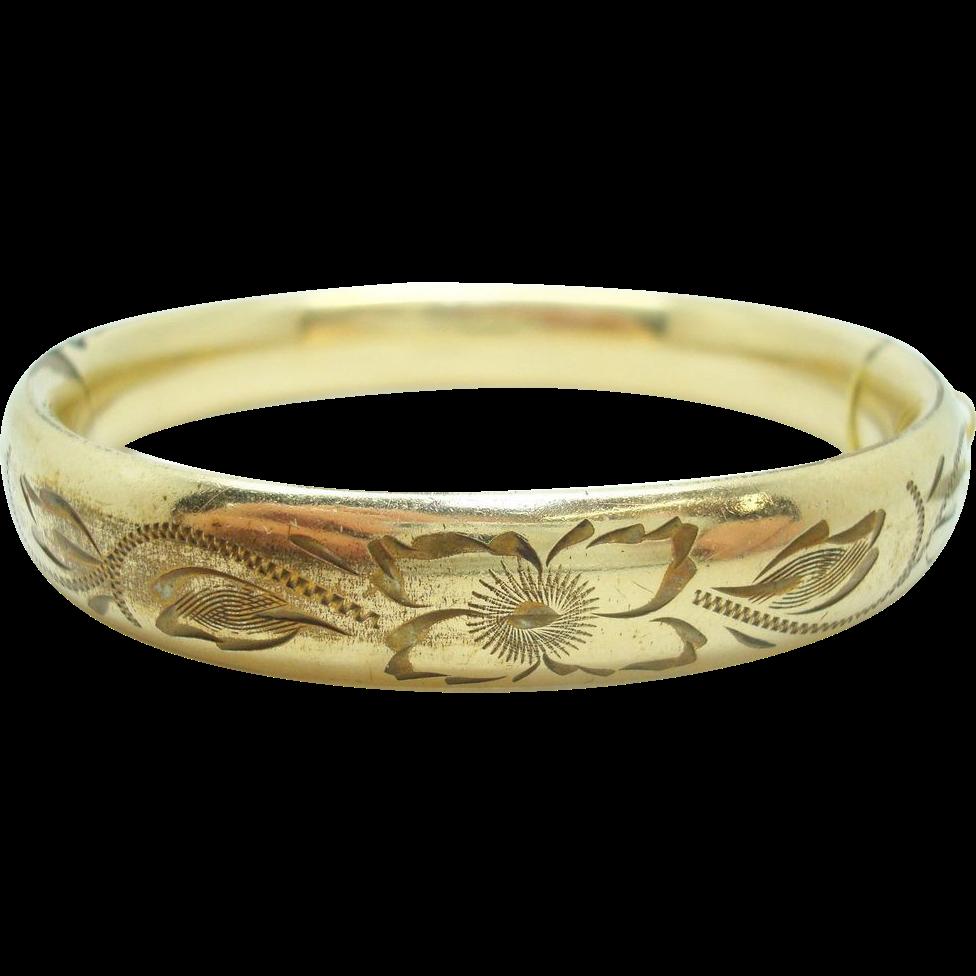 Gold Filled Bangle Bracelet with Floral Design