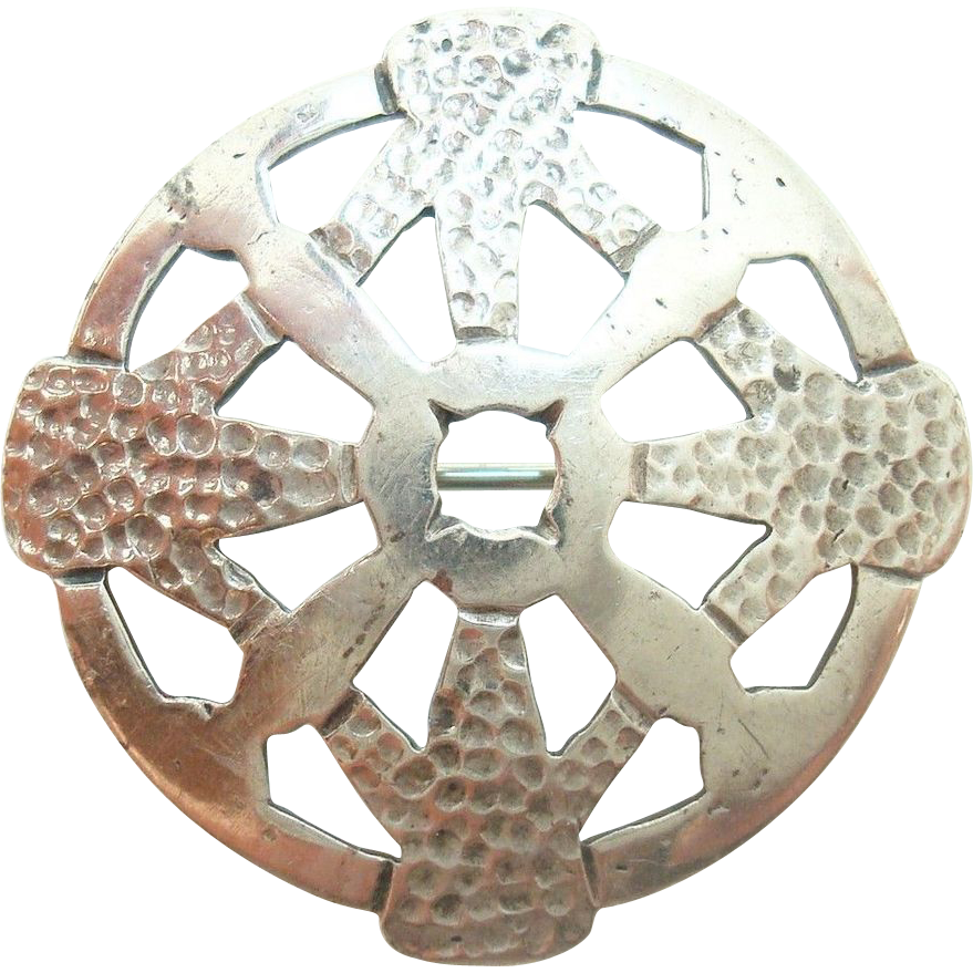 Hand Wrought and Hammered Arts and Crafts Circular Pin