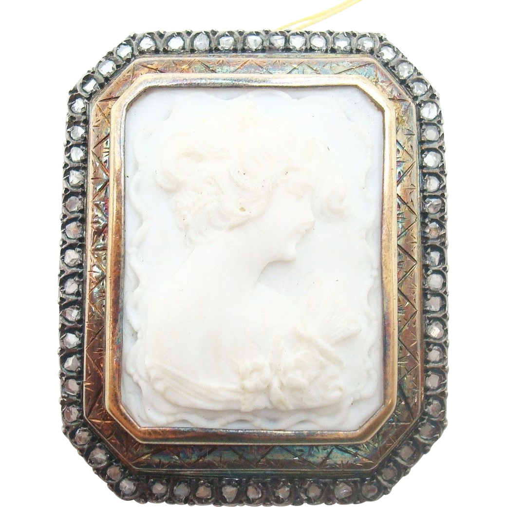 14 Karat Gold Genuine Natural Angel Skin Coral Cameo Brooch with Rose Cut Diamonds