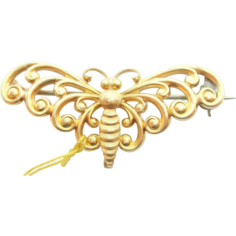 14 Karat Yellow Gold Butterfly/Moth Watch Pin