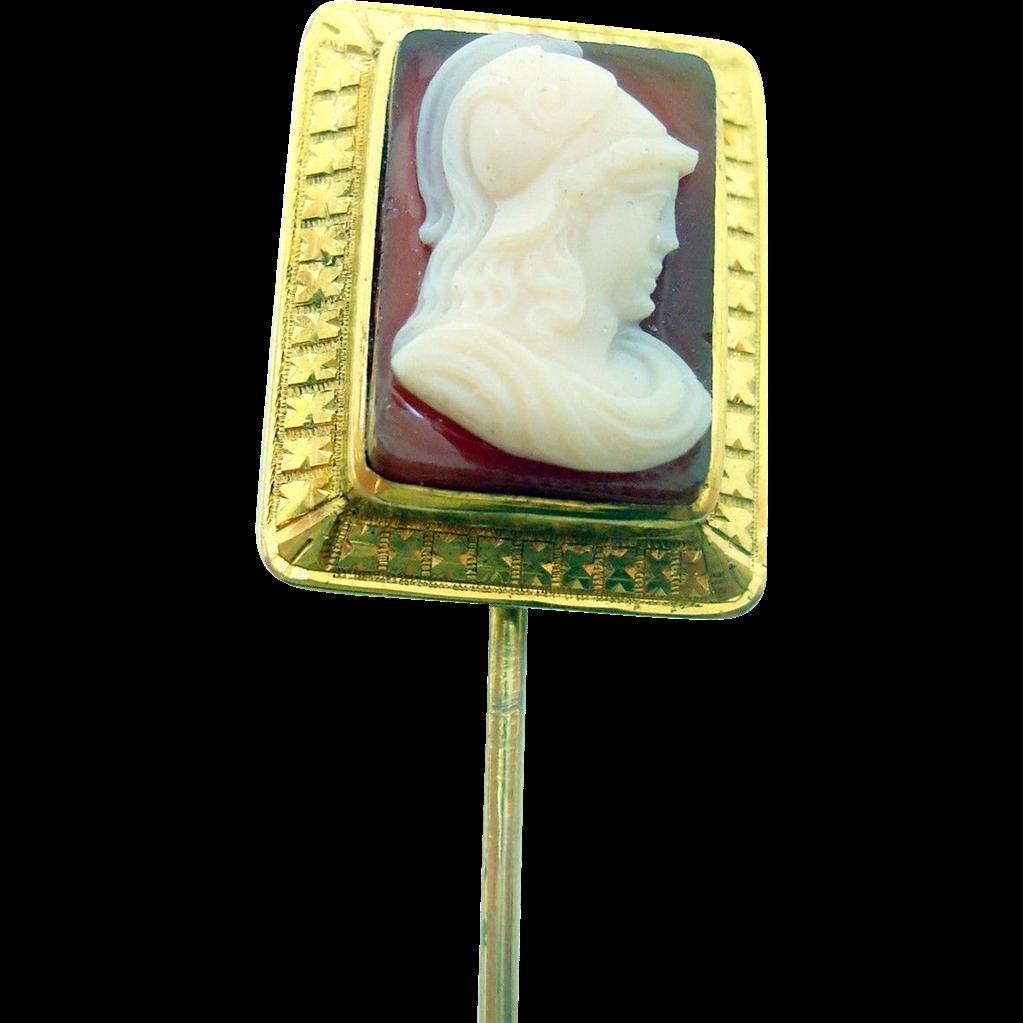 14 Karat Gold Rectangular Hard Stone Genuine Natural Cameo Stick Pin