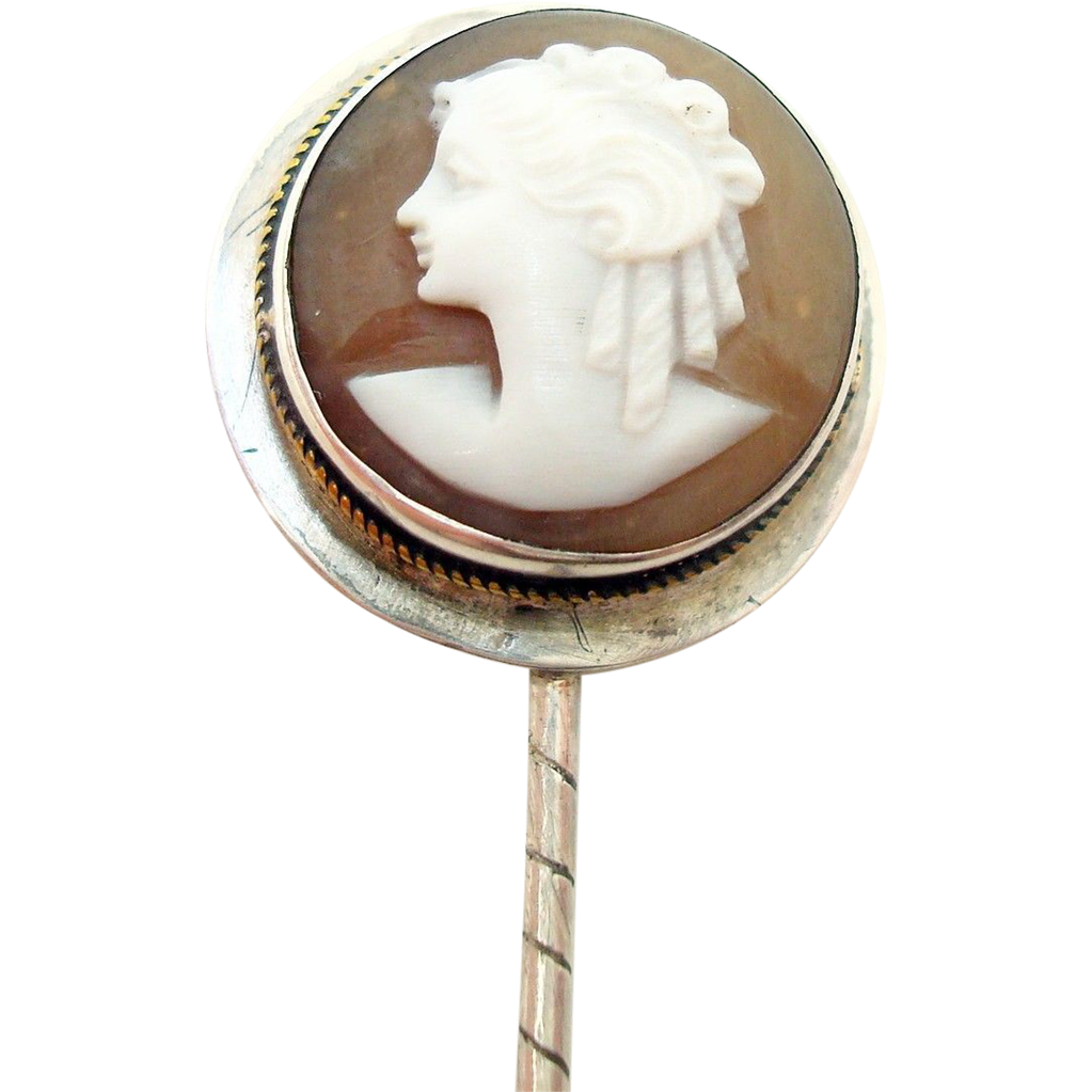 Sterling Stick Pin with Round Shell Genuine Natural Cameo