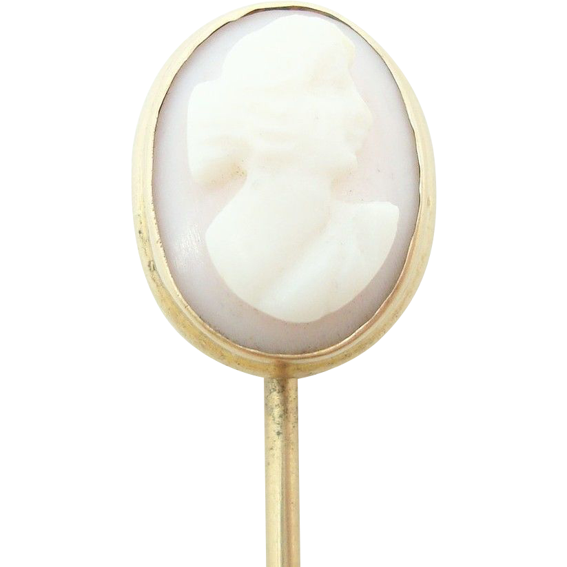14 Karat Gold Oval Coral Angel Skin Genuine Natural Cameo Stick Pin