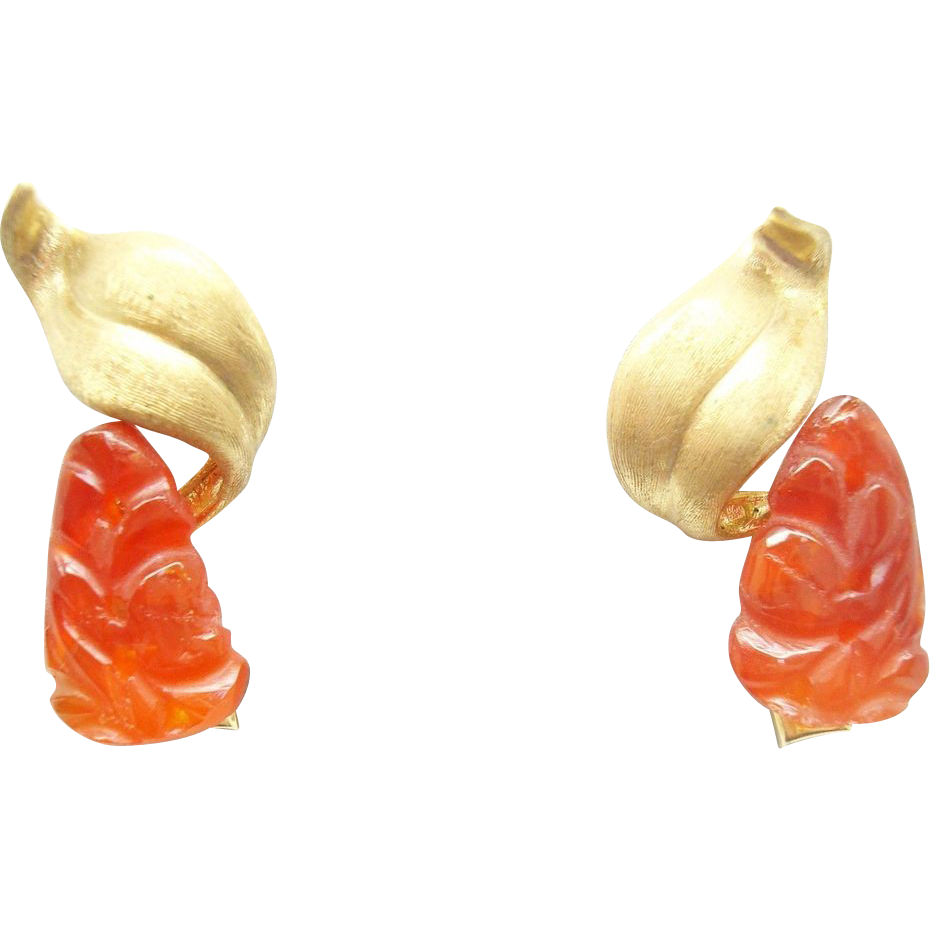 14 Karat Gold Carved Genuine Natural Carnelian Earrings with Gold Brushed Leaves