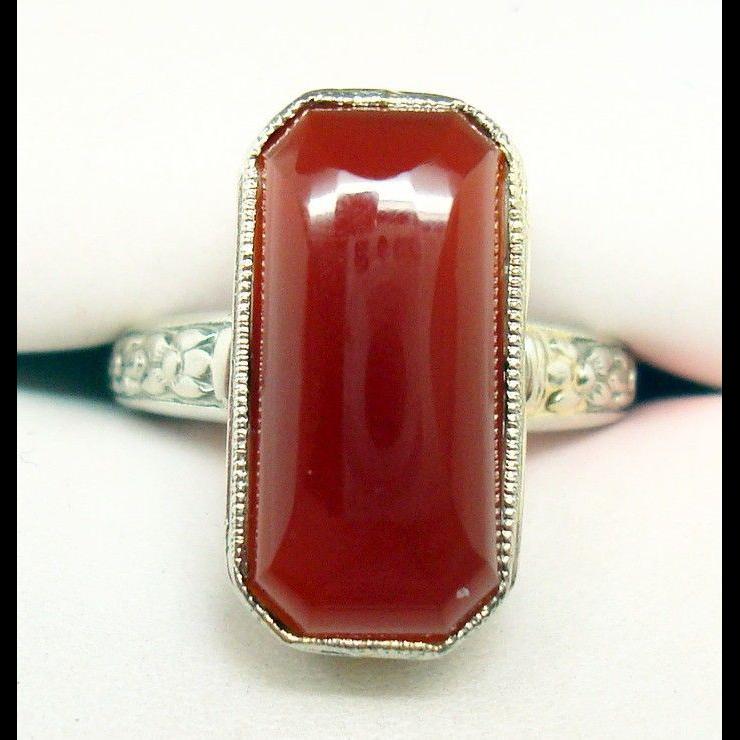 14 Karat Gold Filigree Genuine Natural Carnelian Ring