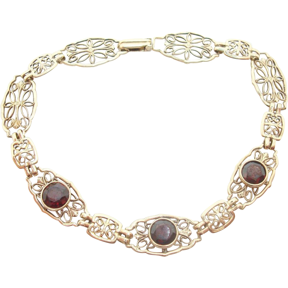 10 Karat Yellow Gold Filigree Bracelet with Three Genuine Natural Garnets