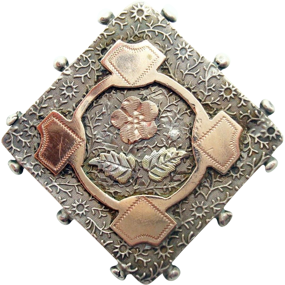English Sterling Pin with Applied Mixed Metal