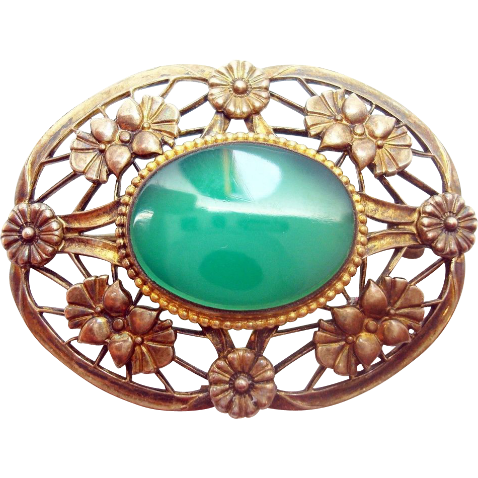 Sterling Genuine Natural Chrysoprase Brooch with 14 Karat Gold Top