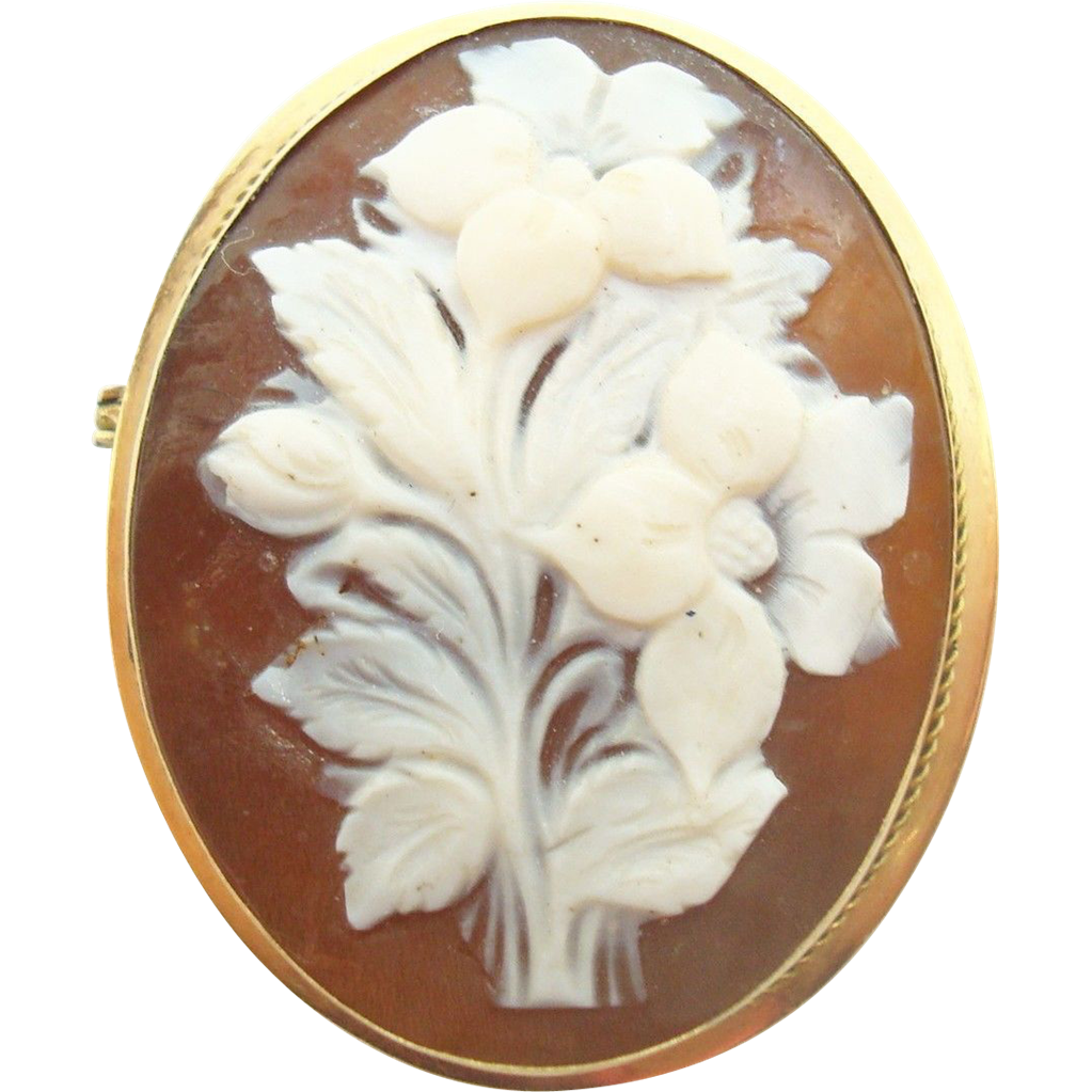 18 Karat Gold Genuine Natural Cameo Brooch with Carved Floral Bouquet