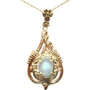10 Karat Gold Oval Genuine Natural Moonstone Pendant with 14 Karat Chain