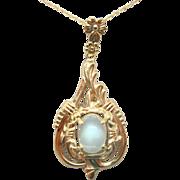 10 Karat Gold Oval Genuine Natural Moonstone Pendant with 14 Karat Chain