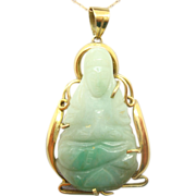14 Karat Gold Large Carved Figural Genuine Natural Jade Pendant