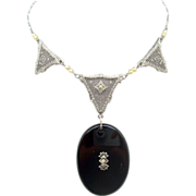 10 Karat Gold Filigree Genuine Natural Onyx Necklace with Diamonds