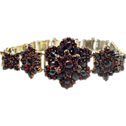 Genuine Natural Bohemian Garnet Link Bracelet with Rose Cut Garnets