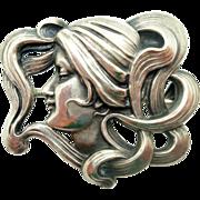 Art Nouveau Kerr Sterling Pin in Shape of Woman