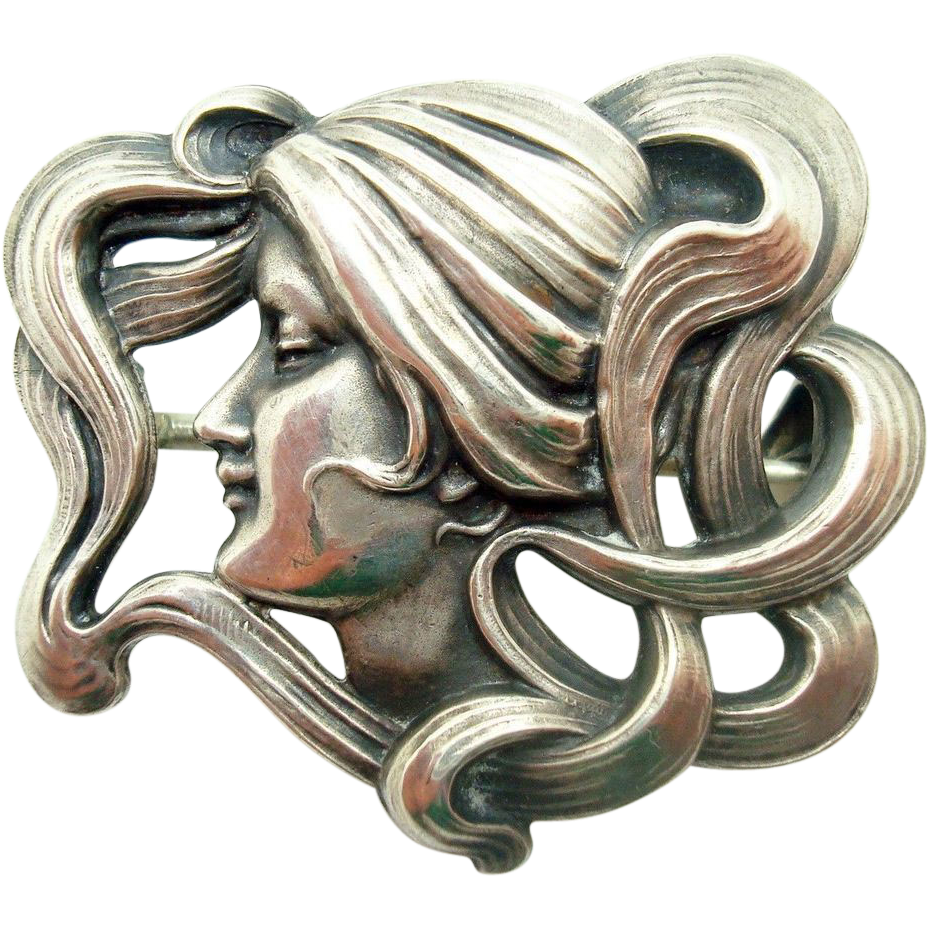 Art Nouveau Kerr Sterling Pin in Shape of Woman