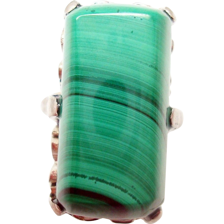18 Karat Gold Rectangular Genuine Natural Malachite Ring
