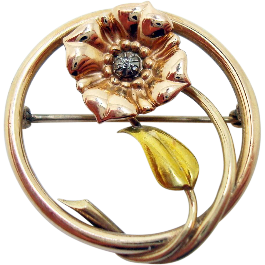 Retro 18 Karat Tri Color Pin with Flower and Leaf