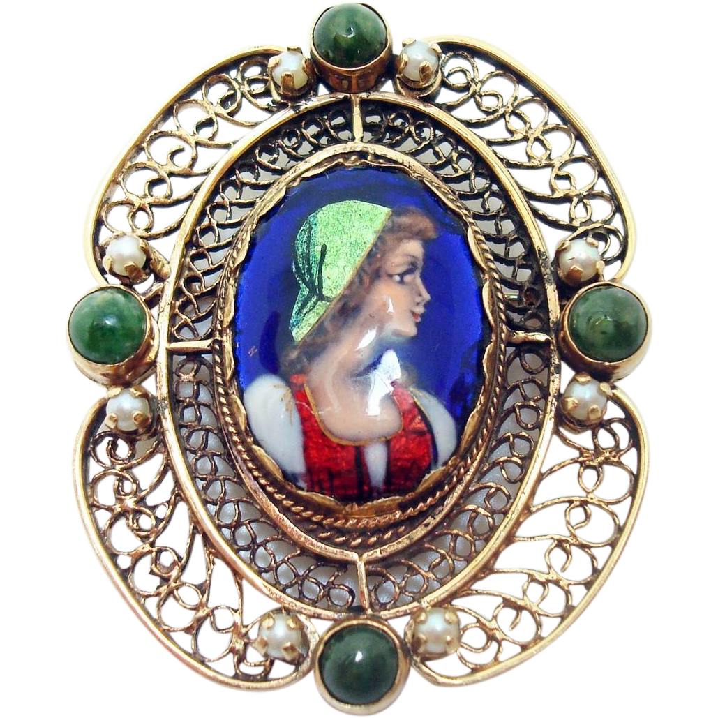 14 Karat French Enamel Brooch with Seed Pearls & Agates
