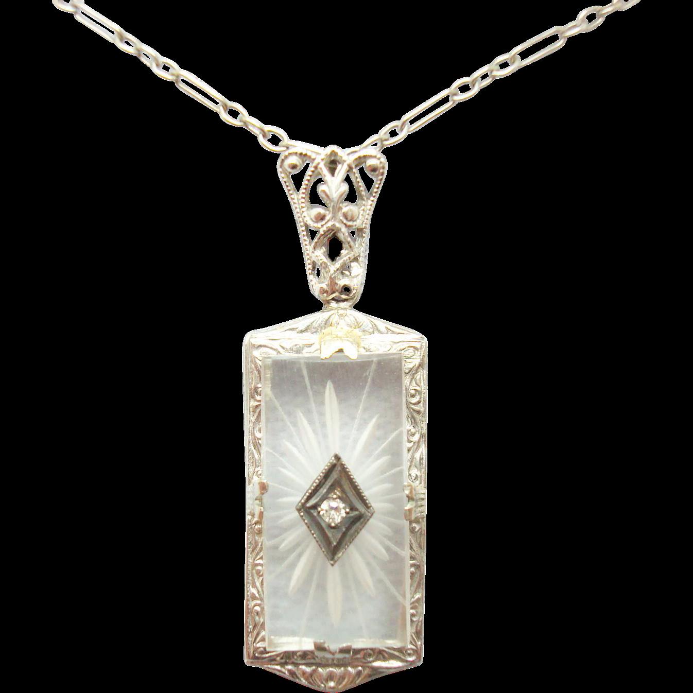 14 Karat Rectangular Camphor / Rock Crystal Pendant with Diamond