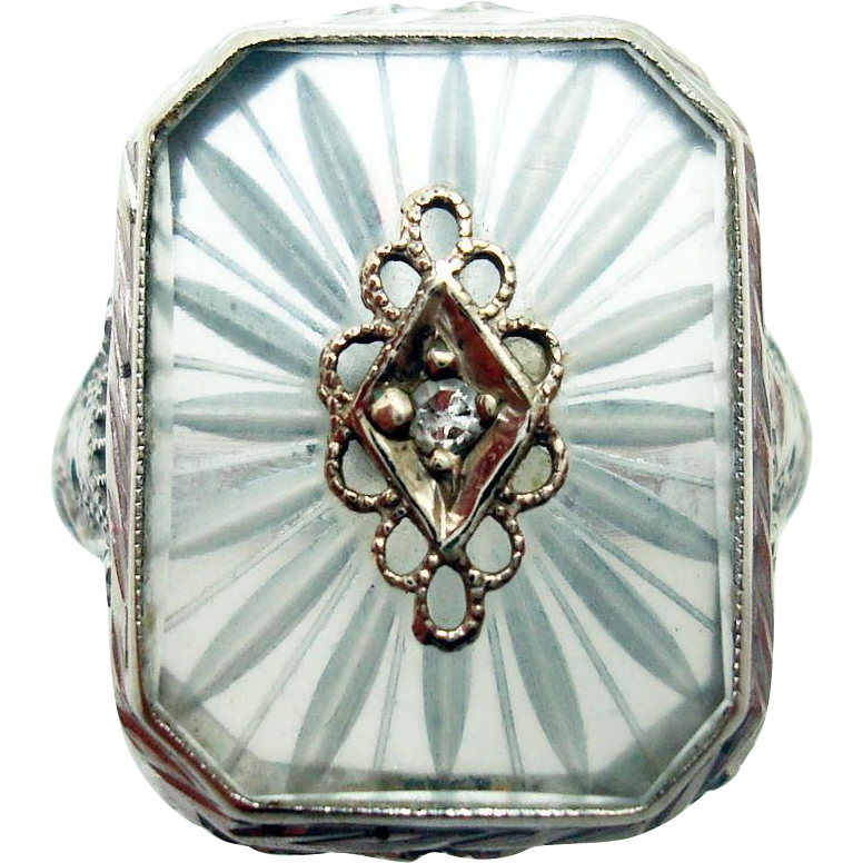 14 Karat White Filigree Camphor / Rock Crystal Ring with Diamond