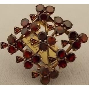 Victorian Bohemian Garnet Shamrock Pin