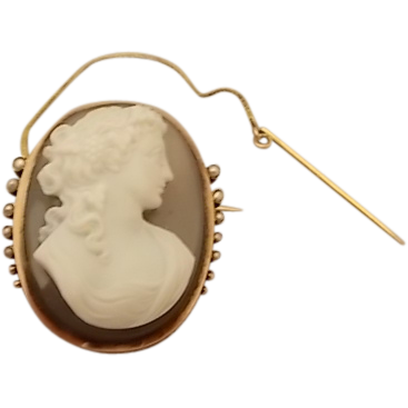 14 Karat Rose Gold Victorian Agate Cameo Pin with Pearl