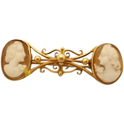 Unusual 9 Karat Pin with Double Cameos