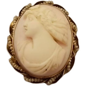 10 Karat Angel Skin Cameo Pin or pendant with Pearls
