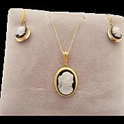 14 Karat Agate Cameo Pendant and Earrings Set