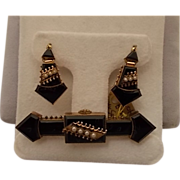 Victorian Black Onyx Pin and Earring Set