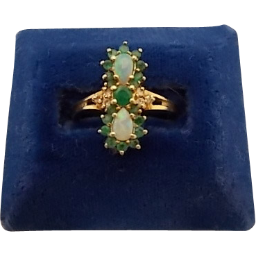Ravishing 14 Karat Ring with Pear Opals and Emeralds