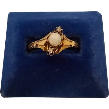 10 Karat Rose Gold Ring with a Round Opal and 2 Diamond