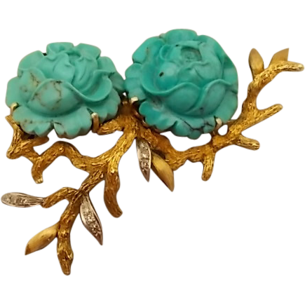 Elegant 14 karat Carved Turquoise Flower Pin