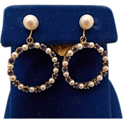 14 karat Dangly Earrings with Sapphires and Pearls