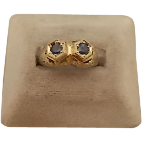 14 karat Filigree Ring with 2 Sapphires