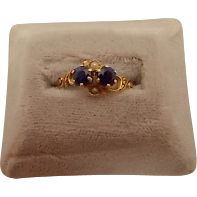 10 karat Victorian Ring with .94ct Sapphires and Pearls