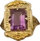 14 Karat Filigree Ring with 2.6 carat Amethyst