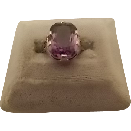 14 karat Filigree Ring with Large 6.36ct Amethyst