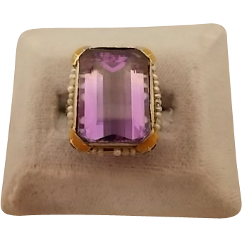 Unique 10 karat Enamel Ring with Large Amethyst