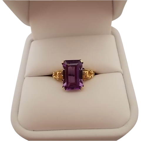 10 Karat Retro Emerald Amethyst Ring